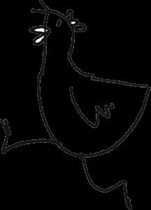 Obrazek przedstawiający biegnącą kurę - element identyfikacji wizualnej festiwalu